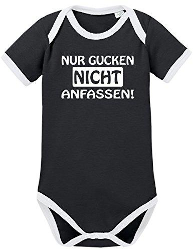 10 Kostüm Top Videospiel - TShirt-People TSP Nur gucken nicht anfassen! Kontrast Baby Body 50 56 Schwarz