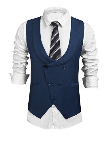 Pagacat Männer U Ausschnitt Herren Ärmellos Zweireiher Solide Slim Fit Business Anzug Weste