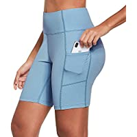 "Ogeenier 8"" Pantalones Cortos Deporte Mujer, Pantalon Corto Running Fitness Yoga Mallas Cortas con Bolsillos"