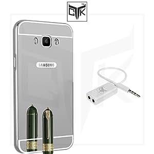 TheGiftKart™ Combo for Samsung Galaxy On8 (Combo of 1 Back Cover + 1 Audio Splitter) - TheGiftKart™ Ultra Premium Luxury Metal Bumper Acrylic Mirror Back Cover (Silver) + Audio Splitter
