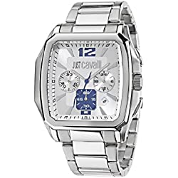 Just Cavalli Men's Watch R7273173645 In Collection Rider, Chrono, White Dial and Stainless Steel Bracelet