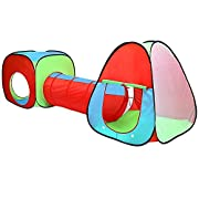 Pop Up Play Tent and Pop Up Tunnel with storage bag;2 Tents and 1 Tunnel Included (Ball Pit Balls Not Included);Main Tent 78 x 78cm and 85cm high;Cube Tent 70 x 70cm and 70cm high;Tunnel 40cm diameter and 100cm long