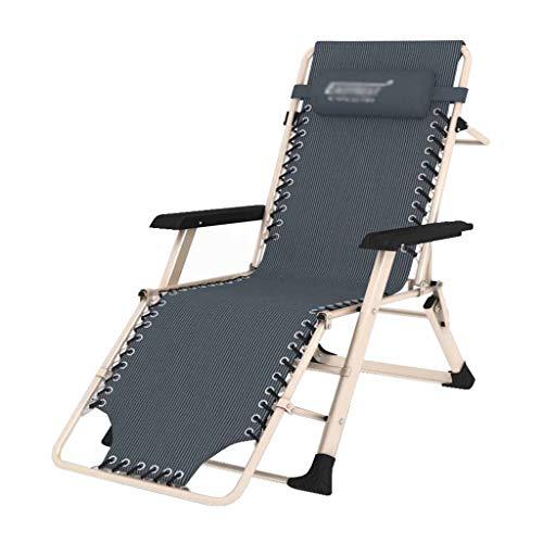 Fauteuil inclinable Pliant de gravité zéro chaises Longues de Chaise Longue Jardin Plage de Jardin Pause déjeuner Bureau Gris