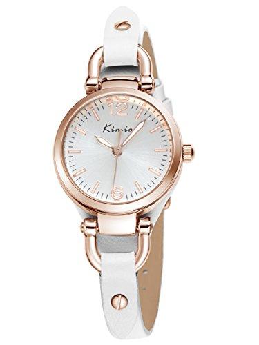 Alienwork Montre quartz bracelet chaîne emballage quartz vintage Or rose Cuir blanc blanc YH.KW545G-02