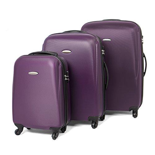 MasterGear set da 3 valigie in ABS con cerniera | 4 ruote (360°) | Trolley, Valigia da Viaggio con Guscio Rigido, TSA, Impilabile | S, M, L Colore Viola
