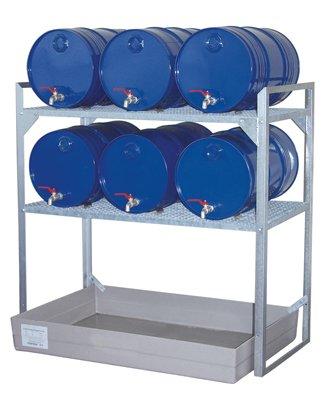 Fassregal, Stahl verzinkt, 2 Gitterrostebenen für 60-l-Fässer und Kleingebinde, GFK-Auffangwanne 150