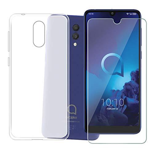 HHUAN Hülle für Alcatel 3L 2019 Case Weiche Semi-Transparent Silikon Clear Schale TPU Schutzhülle Cover + HD Panzerglas Schutzfolie Bildschirmschutzfolie für Alcatel 3L 2019 (5.94