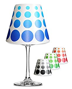 retro punkte deko lampenschirm f r glas weinglas lampe teelicht 1130 blau k che. Black Bedroom Furniture Sets. Home Design Ideas