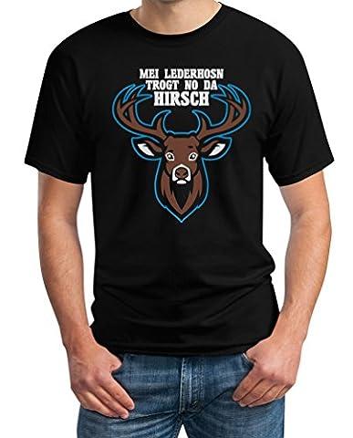 Mei Lederhosn Trogt No Da Hirsch - Witziges Oktoberfest Shirt T-Shirt Small Schwarz