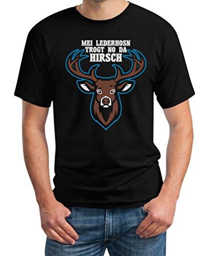 Mei Lederhosn Trogt No Da Hirsch - Witziges Oktoberfest Shirt T-Shirt XXXX-Large Schwarz (Bier Lieferung Mann Kostüm)