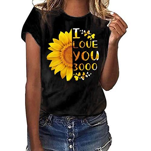 Cooljun Womens Floral bedruckte Tunika ShirtsI Love You 3000 Frauen Plus Size Print Shirt Kurzarm T-Shirt Bluse Tops