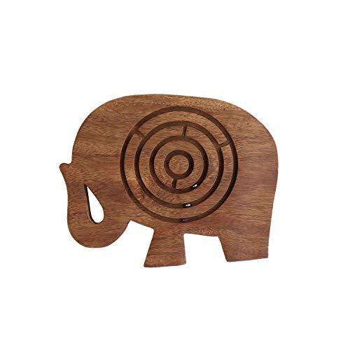 storeindya Regalos Madera Laberinto Laberinto Juego de Mesa Juguetes de Viaje Puzzle Juegos mentales Juegos Divertidos Tradicionales (Elefante)