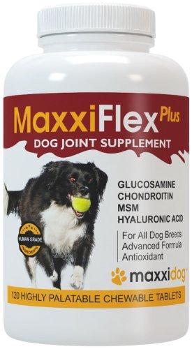 Gelenk-Ergänzungsfutter für Hunde – MaxxiFlex Plus - Hunde Gelenke – Fortschrittliche Formel – Glucosamin HCL, Chondroitin-Sulfat, MSM, Hyaluronsäure, Teufelskralle, Bromelain, Gelbwurz – Linderung Von Arthritisschmerzen – Beste Hüftunterstützung Für Hunde – Hunde-Hüftdysplasie – Alle Rassen Und Größen – 120 Hochwertige Kaubare Tabletten - Geschmacksgarantie