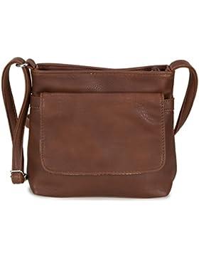 L&S Collection kleine Damen Umhängetasche Abendtasche aus Kunstleder (20,5x17x6 cm)