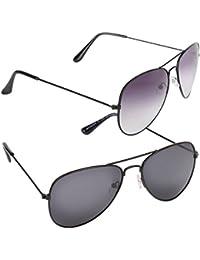 Criba Anti-Reflective Aviator Unisex Sunglasses - (COMBO 256|50|Black Color)