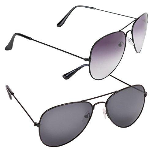 Criba Combo Pack of Grey and Black Unisex Stylish UV400 Aviator Sunglass