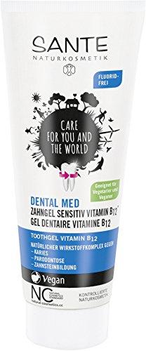 SANTE Naturkosmetik Dental med Zahngel Vitamin B12 ohne Natriumfluorid, Schützt Zähne & Zahnfleisch, Vegan, 75ml (Pflege Zähne, Zahnfleisch)