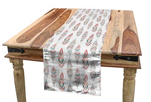 ABAKUHAUS Feder Tischläufer, Indianische Kultur, Esszimmer Küche Rechteckiger Dekorativer Tischläufer, 40 x 225 cm, Dunkle Koralle Seafoam Orange (Seafoam Tischdecken)