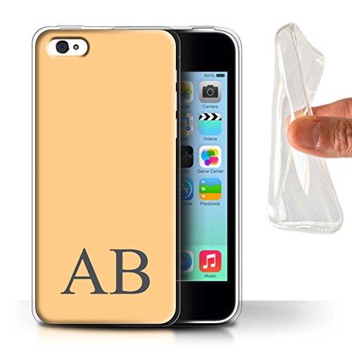 Personalisiert Pastell Monogramm Gel/TPU Hülle für Apple iPhone 5C / Lila Design / Initiale/Name/Text Schutzhülle/Case/Etui Orange