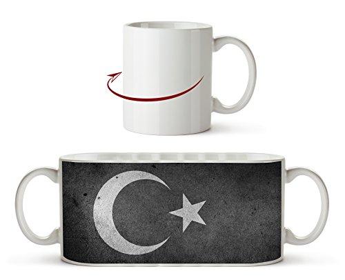 Türkische Flagge Effekt: Schwarz/Weiß als Motivetasse 300ml, aus Keramik weiß, wunderbar als Geschenkidee oder ihre neue Lieblingstasse.