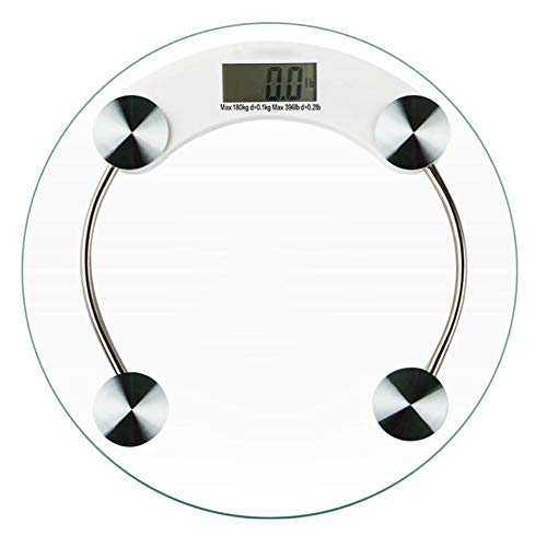 YMYJZ High Precision Electronic Bathroom Scales, Toughened Glass Measure Body Weight Easy to Read Digital Display Button Batterie Round 33cm Large Surface 5 mm - High Access-tools