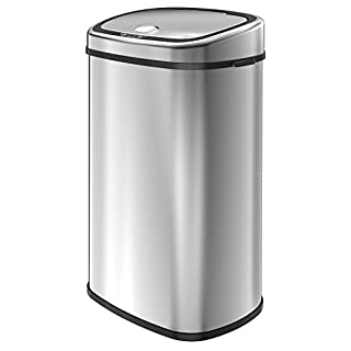 1home 68L Stainless Silver Steel Automatic Sensor Touchless Waste Bin (Chrome)