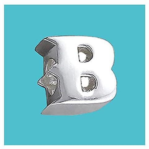 Lettre B en argent massif véritable Argent Sterling 925Pure Charm