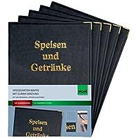 Sigel SM101 Speisekarten-Mappen für A5, mit Gummi-Bindung, schwarz, 5er Pack - weitere Ausführungen