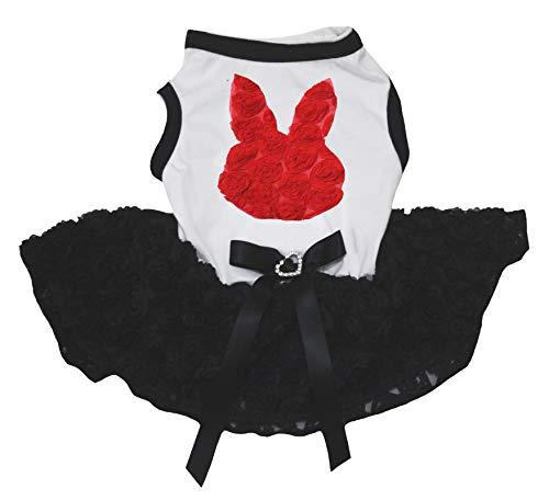 Petitebelle Hundekleid, rotes Blumenmuster, Häschen mit weißem Hemd, Rose, Schwarz