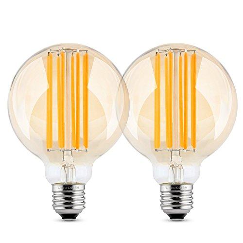Albrillo dimmbar E27 LED Globe ersetzt 60W, Filament Glühbirne Retro Edison Vintage, warmweiß, φ 80mm