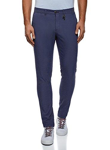 oodji Ultra Uomo Pantaloni Dritti in Cotone, Blu, IT 52 / EU 48 (XL)