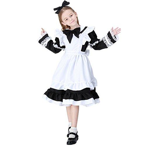 YFCH Kinder Mädchen Anime Kellnerin Kostüm Lolita Kleider Dienstmädchen Outfit,Schwarz,M (Kellnerin Kostüm Kinder)