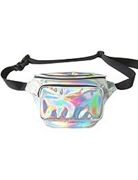 VORCOOL Bolso de la Cintura del Holograma, Bolso de la Cintura del Bolso del Holograma del PVC de la Mujer Holograma Fanny Bolso de la Cintura del Bolso de Neón Brillante Neo Impermeable (Plata)