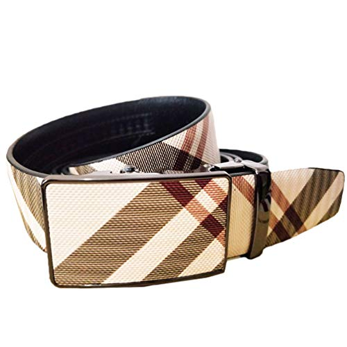 ES-AP Plaid Belt / Leather Alloy Automatic Buckle Ratchet Fashion Casual Belt Christmas Gift Coffee / Khaki Length 48 Inches, Including An Exquisite Gift Box.