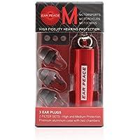 EarPeace Tapones para Oídos para Motos – Reducción de Ruido y Protección Auditiva de Alta Fidelidad para Deportes de Motor (Tapones Grises, Funda Roja)