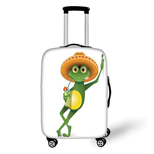 Travel Luggage Cover Suitcase Protector,Cartoon,Frog in a Sombrero and a Cocktail Drink Glass Fauna Hot Weather Holiday,Fern Green Apricot,for Travel - Monogram Cocktail
