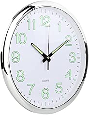 Dolity Luminous Wall Clock, Silent Non-Ticking Round Quartz Battery Operated Wall Clocks, Easy To Read Night L