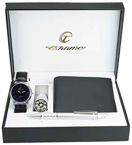 Geschenkset Herren Armbanduhr weiß - Taschenlampe LED - Schweizer Taschenmesser - Brieftasche - Stift