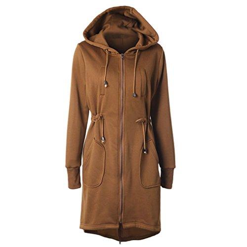 Trenchcoat,Dasongff Damen Herbst Winter Warm Kapuzenjacke Hoodies Zip Strickmantel Lange Strickjacke...