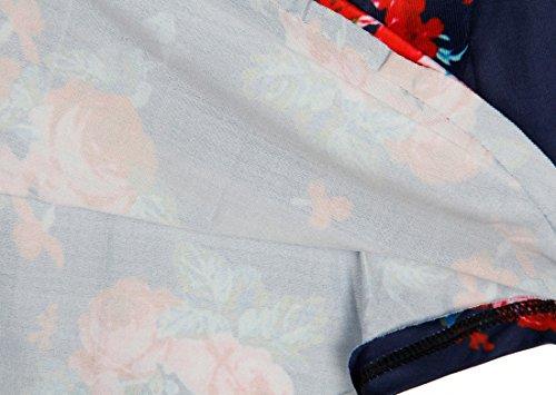 QIYUN.Z Maglietta Del Collo Della Maglietta Del Manicotto 3/4 Della Maglietta Di Modo Delle Donne Blu Navy