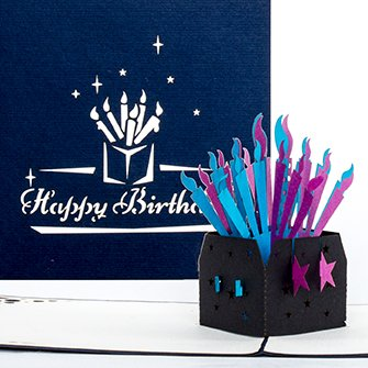 """Pop Up Geburtstagskarte """"Kerzen - Happy Birthday"""" - Pop Up Karte, 3D Karte, Englisch, Birthday, Geburtstagskerzen, Pop Up Card, Candels, Karte zum Geburtstag, Glückwunschkarte"""