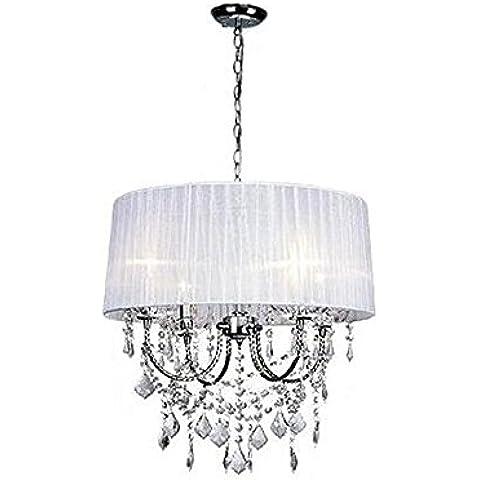 CAC Paralume rotondo Crystal 4pz lampadine lampadario Decorazione moderna lampada di illuminazione,rosso