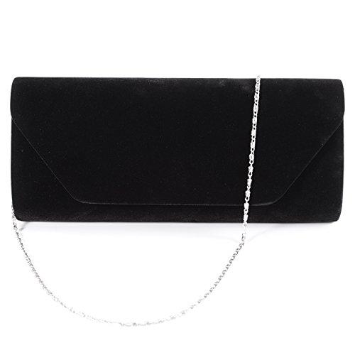 Damentasche Clutch Umhängetasche Handtasche Abendtasche Kettentasche Samt für Party Hochzeit (Schwarz) (Samt-abend-handtasche)