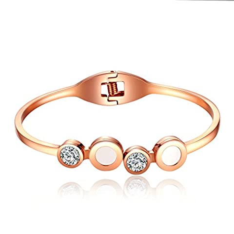 AMDXD Jewelry Stainless Steel Cuff Bracelets for Women CZ Round Rose Gold 16CM
