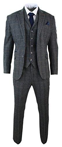 Herrenanzug 3 Teilig Grau Fischgräte Tweed Design Klassisch Eng Tailliert (Enge Anzüge)