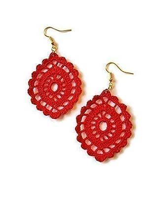 Boucles d'oreilles rouges cadeau de bijoux en dentelle pour sa sicilie ovale crochet fait à la main