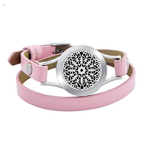MHOOOA Armband Armreif Aroma Medaillon Schnee 25mm schwarz echt Edelstahl Armreif ätherische Öle Aromatherapie Medaillon Armband -