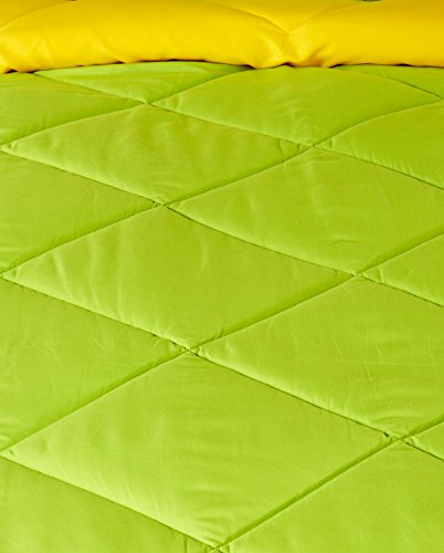 Solimo Microfibre Reversible Comforter, Single (Olive Green & Cheery Yellow, 200 GSM)