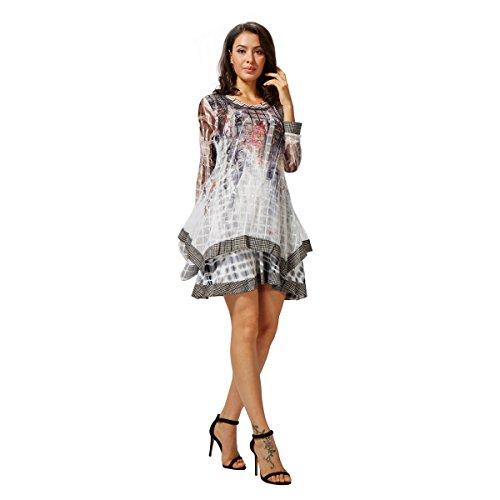 Sybell Frauen Herbst Trendy Langarm beiläufiges Kleid Top Bluse mit Weste PV-A1607016 (Kundenspezifische Sport-ärmeln)