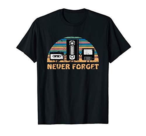 Never Forget T-Shirt Video Musik Kassette Diskette Geschenk